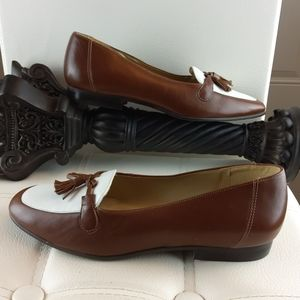 Selby brown and white leather loafers with tassels